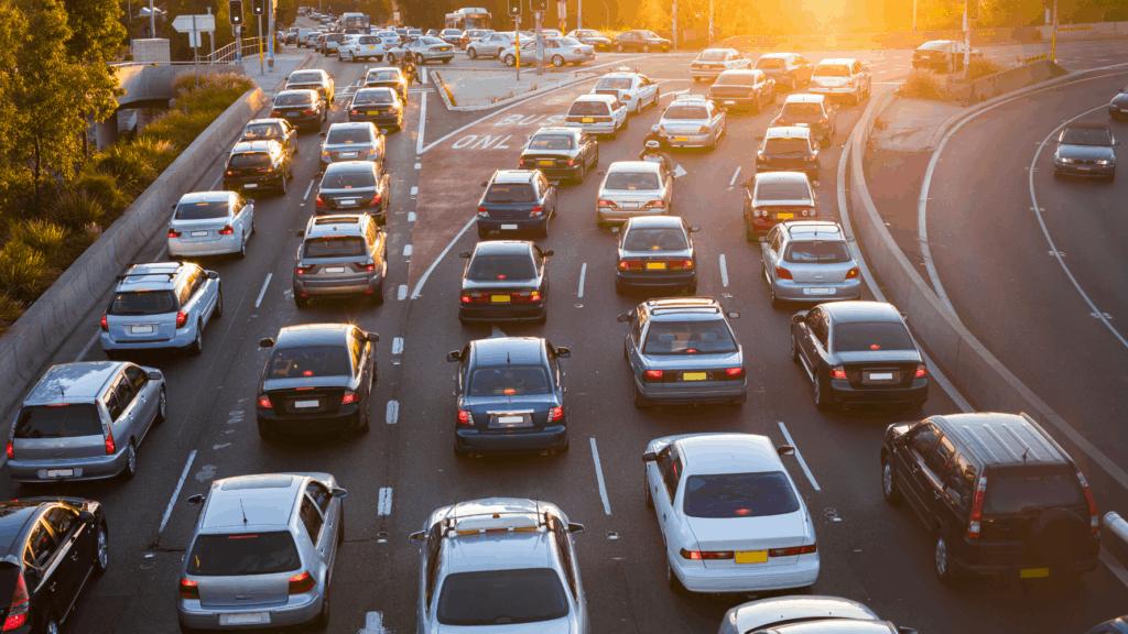 Cars in traffic