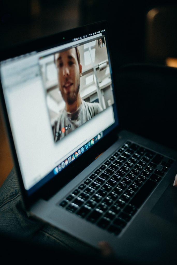 Man talking through the computer screen