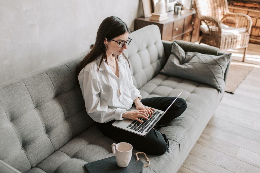 Woman working from home with her laptop