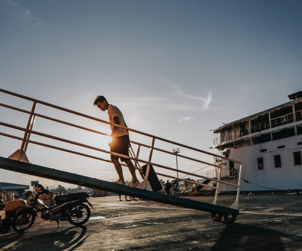Man onboarding a boat